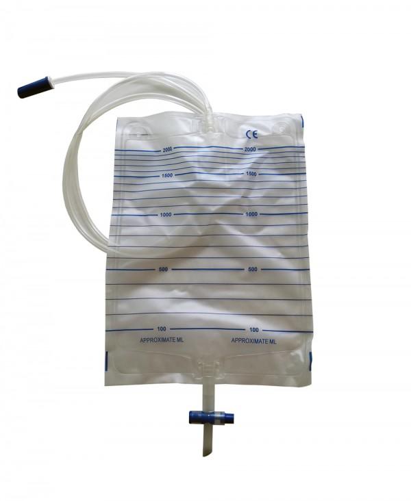 Sacche Urina 2000 Ml con Scarico e Tubo da 130 Cm - Confezione 10 Pezzi