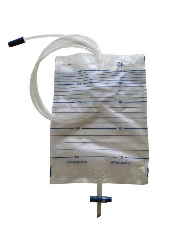 Sacche Urina 2000 Ml con Scarico e Tubo da 90 Cm - Confezione 10 Pezzi