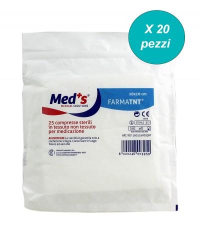 Garza Sterile 10x10 Cm in Tnt Blister da 25 Compresse - Confezione da 20 Pezzi Farmac Zabban