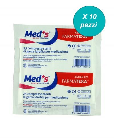 Garza Sterile 15x15 Cm in Cotone Blister da 25 Compresse - Confezione da 10 Pezzi