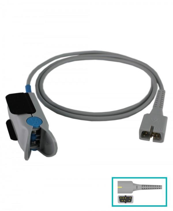 """Pulsossimetro Saturimetro Palmare Display 2,8"""" LCD con Sensore Adutli a Clip, Sonda Temperatura e Batteria Ricaricabile"""