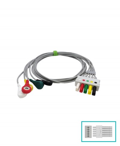 Set 5 Terminali Ecg Snap Compatibile Draeger