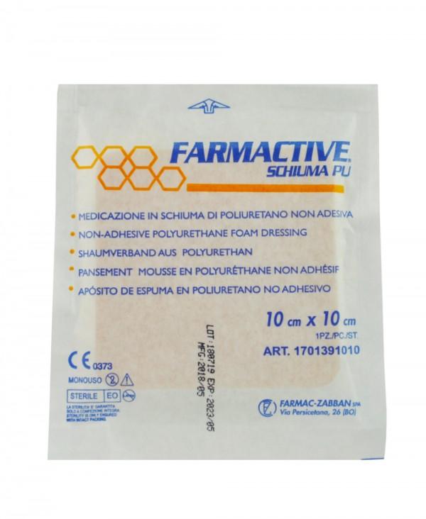 Medicazione Avanzata Sterile Antidecubito in Schiuma di Poliuretano Non Adesiva Farmactive Schiuma PU - 10x10 Cm - 10 Pezzi