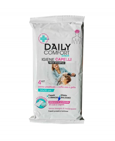 Daily Comfort Senior Cuffia Shampoo 4 pezzi - Panno Shampoo 50x35 cm