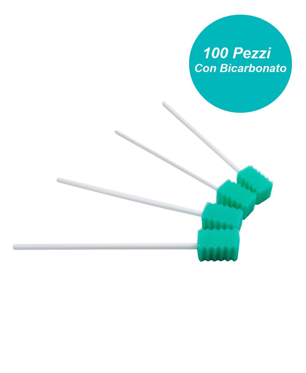 Tampone in Spugna per l'igiene del Cavo Orale con Bicarbonato Confezione da 100 pezzi