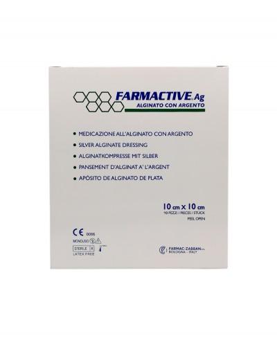Farmactive Ag Medicazione Avanzata Sterile all'Alginato con Argento cm 10x10 - Confezione 10 pezzi