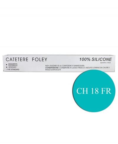 Catetere di Foley in Silicone 2 Vie FR/CH 18 con Palloncino da 5/15 ml